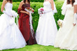 details four brides in wedding dress and holding bouquet