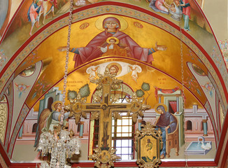 Orthodox fresco of Virgin Mary and Annunciation on Mount Tabor