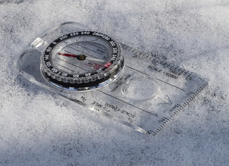 compass in the snow