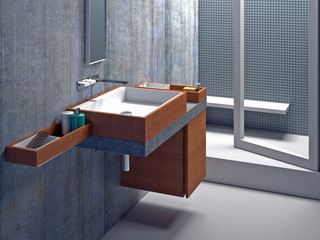 Modern bathroom interior shot