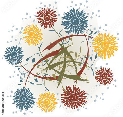 Floral abstract organic illustration - vector