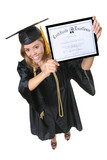 A pretty woman holding her certificate graduation poster
