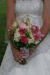 bouquet flower front wedding dress gown elegant pink white