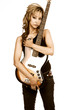 Hispanic Girl with brown electric bass guitar.focus on gitara.