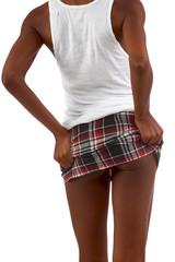 Upskirt image of skinny African-American female