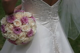 elegant flower back bride white dress gown poster
