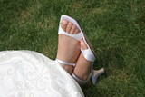 white wedding shoes high heels elegant simple comfort poster