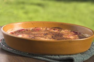 Raspberries and Rhubarb Brulee