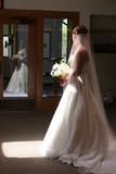 bride reflection window dress gown light beam poster