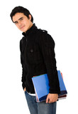 male young student carrying books in his arms - isolated  poster