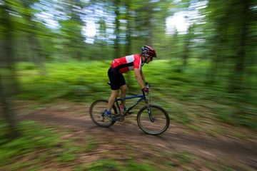 Mountain Biker with blurred background