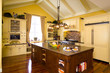 Yellow kitchen with island