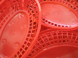 vivid red plastic food basket