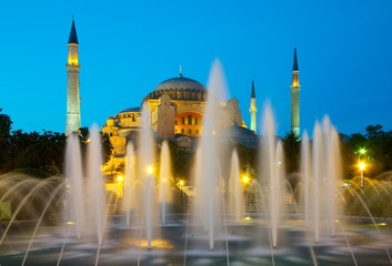 Hagia Sophia and fountain at evening.