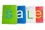 Bags for purchases on a white background. poster