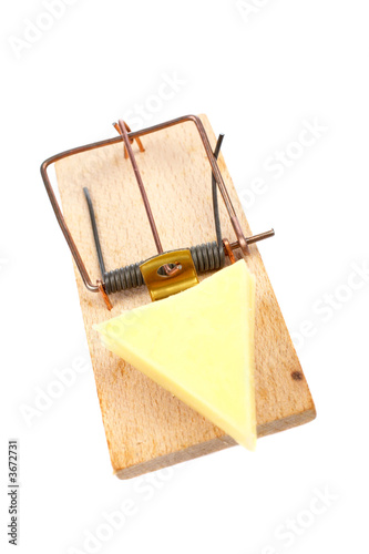 A mousetrap with cheese, reflected on white background