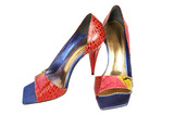 Color leather female shoes on a high heel poster