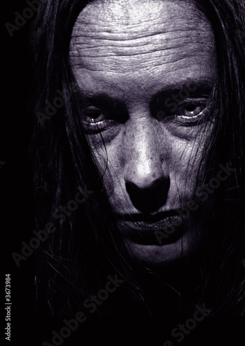 Very Intense Close Portrait of Depression on Black