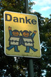 A sign with a message of gratitude in a german road