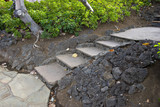 Stone Steps with Black Lava Rocks on sides poster