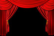 Leinwanddruck Bild - Bright Red Stage Theater Draped Curtain Background on Black