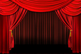 Multiple Red Layered Stage Theater Drape Background poster