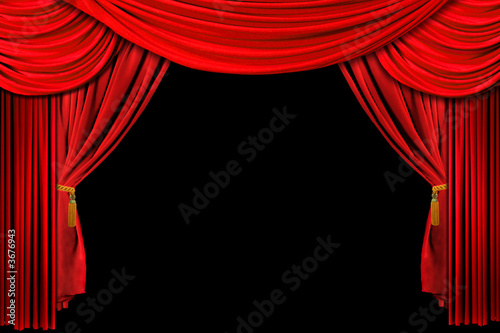 Staande foto Theater Bright Red Stage Theater Draped Curtain Background on Black