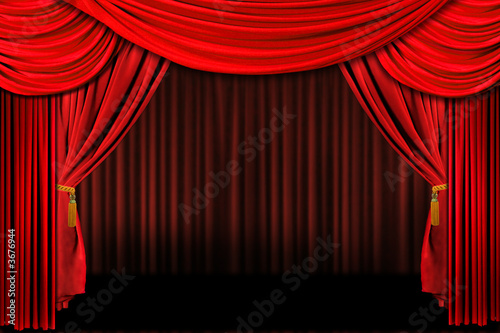 Multiple Red Layered Stage Theater Drape Background - 3676944