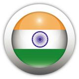 Indian Flag Aqua Button poster