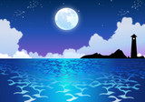Sparkling Ocean Water in Moonlight poster