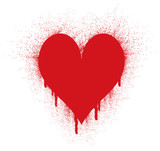 Red ink Spray in Heart Shape poster