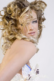 beautiful blonde in wedding white gown poster