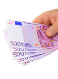 Male hand holding 500 euro notes isolated with clipping path poster