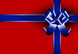 Blue ribbon with silver lines on a red package poster