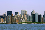 Lower Manhattan in New York City and the Hudson River.