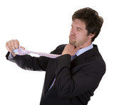 business man getting sick from tight tie on white background poster