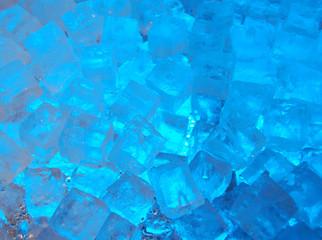 ice cubes lit by blue light