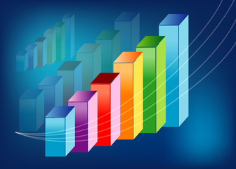 colorful upward profit graph with blue background