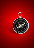 magnetic compass in red background with shadow poster