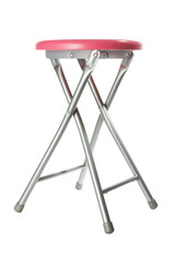 Pink aluminium stool