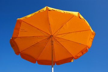 Bright yellow sunshade parasol