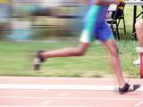 junior league track runner in race poster