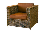 Comfortable rattan armchair on white background poster