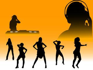 clubbing dance silhouettes
