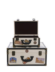 Two world travelers suitcases isolated over white