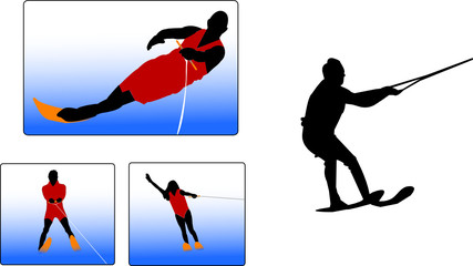 waterskiing silhouettes