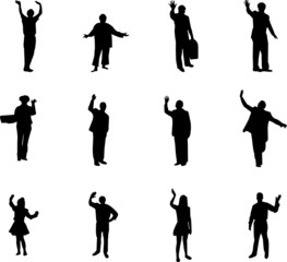 silhouettes waving with hands