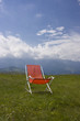 Chaise longue with a beautiful alpine scenic