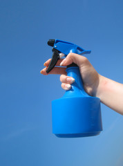 blue sprayer for flower