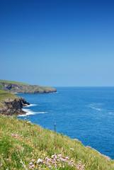 Blue sea in Port Isaak, Cornwall, UK